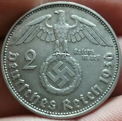 1936- D German Empire 2 Mark Deutsches Reich Silver coin VF - frankyd360 #ch724