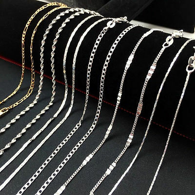 Lots 925Sliver Filled Gold Rolo Curb Snake Figaro Wave Chain Necklace Jewelry