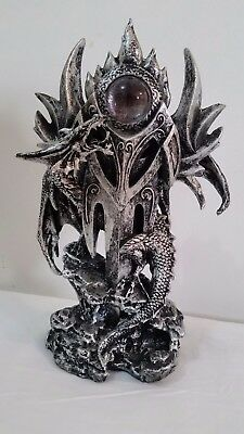 Antique Silver Look Dragon around a Dagger with Crystal Eye Figure Ornament New