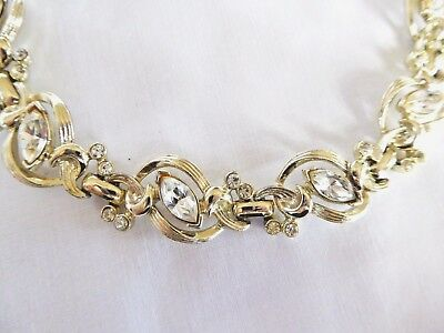 Vintage CROWN TRIFARI Brilliant Clear Marquise Rhinestone Bracelet