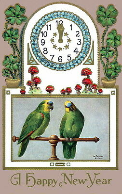 New Year~Blue Fronted Amazon Parrots~Mushrooms~4 Leaf Clovers~NEW Lg Note Cards