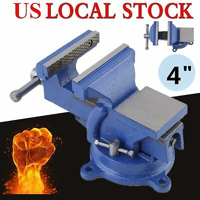 """4"""" Inch Workbench Table 100mm Jaw Clamp Swivel Base Bench Vice Vise Heavy Duty V"""