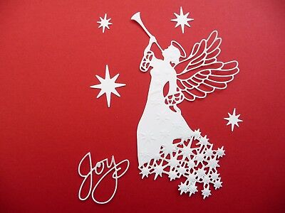 Die Cut Cuts x6 Christmas Angel Joy Embossed Card Making Scrapbooking Topper