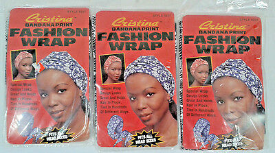 Lot Of 3 Women's Hair Head Cristina Bandana Print Navy Color Fashion Wrap.