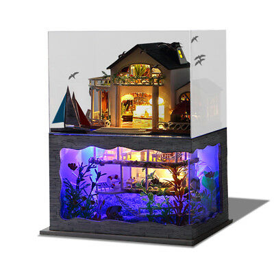 DIY Hawaii Villa Wooden Miniature Dollhouse Kit Creative Birthday Christmas Gift