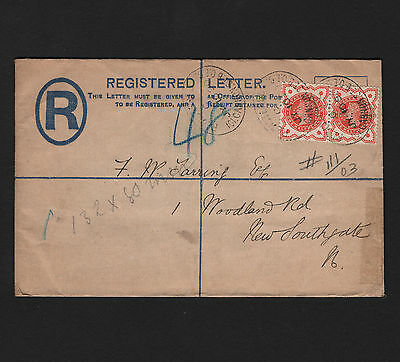 OPC 1890 Registered Letter to New Southgate General Life & Fire Perfin GLF #111