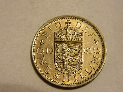 1961 Great Britain 1 Shilling Nice About Uncirculated Details--- Lot #3804