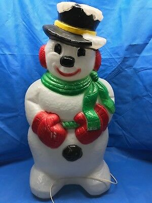 """Vintage Snowman 31"""" With Snow on Hat Light Up Blow Mold Christmas Decoration"""