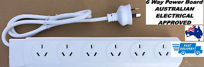 6 Way Outlet Power Strip Board Distribution Point SURGE Protector Powerboard