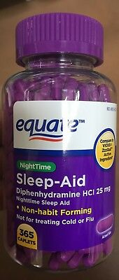 Equate Nighttime Sleep Aid Caplets Diphenhydramine HCI 25 mg 365 count  -NEW-