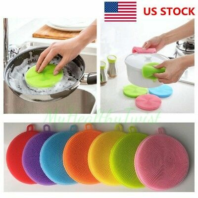 Multi-function Silicone Dish Washing Cleaning Brush Sponge Cleaner Tools US Ship