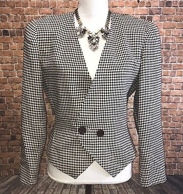 Christian Dior Women's VTG Checkered Blazer sz 6 Beige Black Gingham CAREER