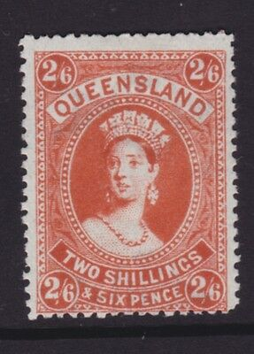 QUEENSLAND SCARCE 1910 2/6 Dull Orange QV CHALON MINT/MLH SG 309a  (DF162)