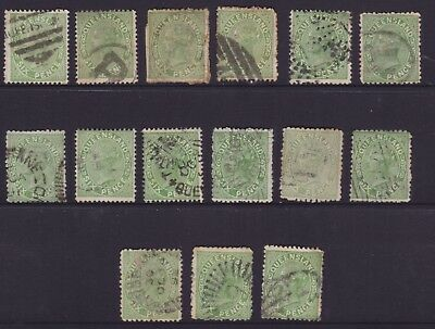 QUEENSLAND SCARCE 1882 6d Green QV SIDEFACE UNSHADED SUED LOT X 15 SG 170(DG166)