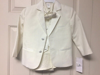 NEW~w/ Tags~5 Pc~Ivory Tuxedo Suit Set~Bow Tie~Holiday~Wedding~Size 5