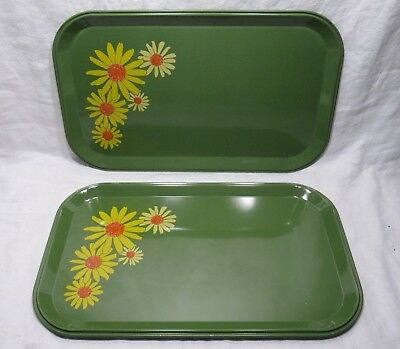 2 Vintage Green Metal Serving or Dinner Trays - Retro Yellow Daisy Floral