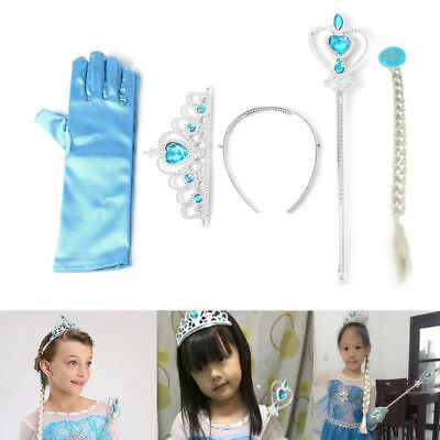 Frozen Elsa Anna Tiara Princess Crown Wig Wand Gloves Christmas Cosplay Elsa Set