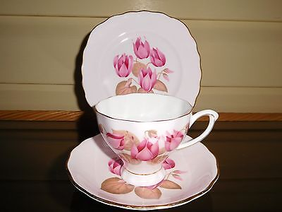 "Colclough ""Pink Cyclamen"" Trio Made In England Mint Condition"