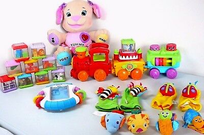 Fisher Price Laugh N Learn Smart Stages Puppy + Peekaboo Blocks + Train + +