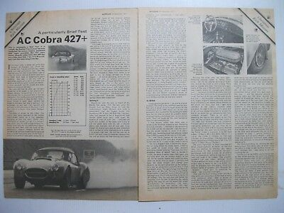 1968 Ac Cobra 427 Complete 2 Page Road Test Article In 1971 British Magazine