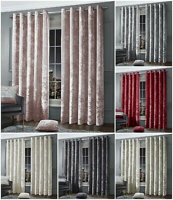 Luxury Crushed Velvet Curtain Pair Eyelet Ring Top Ready Made Fully Lined Silver