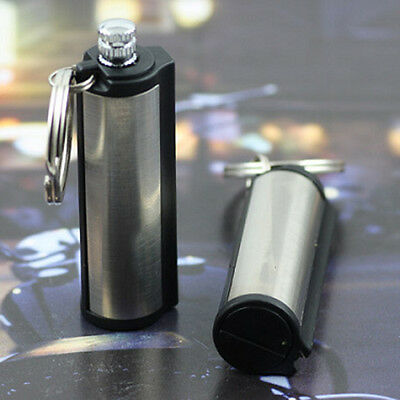 HOT Silver Tone Stainless Steel Permanent Match Waterproof Lighter Key Chain NIU