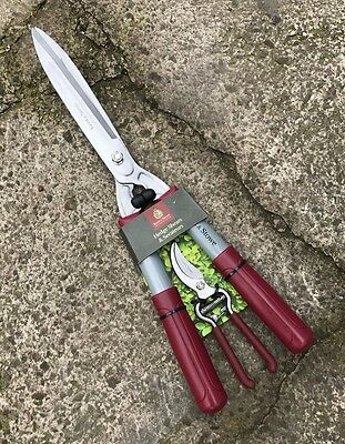Kent & Stowe Hedge Shears & Bypass Secateurs Set - Hand Pruner, Loppers