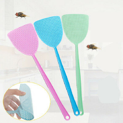 """Pack Of 3 Coloured Fly Swat Swatters Long Handle Lightweight 17.5"""" Uk  Stock"""
