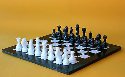 "16"" Chess Set White Marble & Black Marble Hand Made in Velvet /Suede Gift Box"