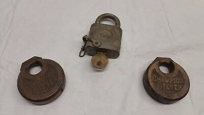 Antique Vintage Yale, Champion ,Champion Padlock lot of 3