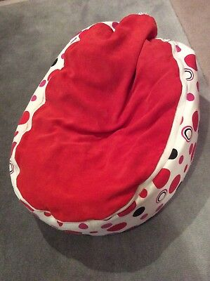 Red/white baby Bean Bag - Filled, with 2 zip off washable tops (1with harness)