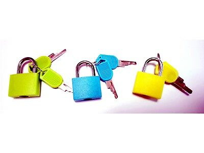 3pcs mini copper locks with colorful cover travelling luggage box free shipping