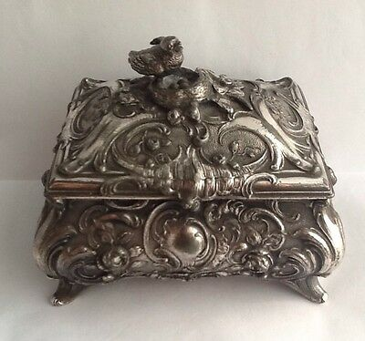 Stunning Antique WMF Silver Plated Rococo Box With Birds Nest Finial