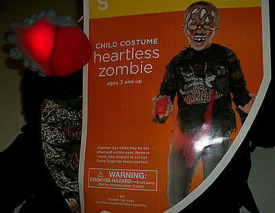 Heartless Zombie boys size small 4-6 Halloween Costume Scary Heart lights up