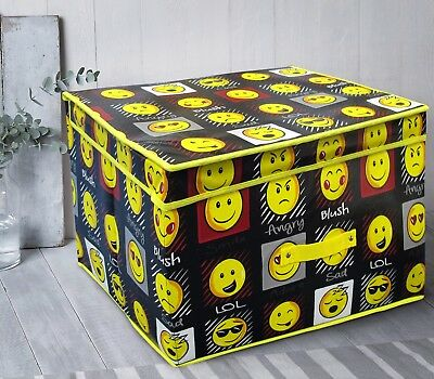 Black Emoji Expression Smiley Kids Large Storage Box Chest Room Tidy Foldable