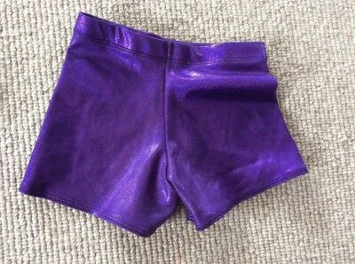 girls gymnastic purple shorts, age 7-8 years