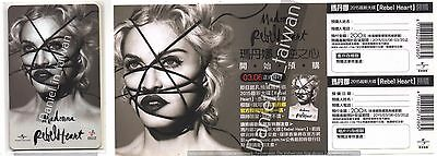 Madonna: Rebel Heart (2015)  TAIWAN PROMO MRT PLASTIC CARD & FLYER