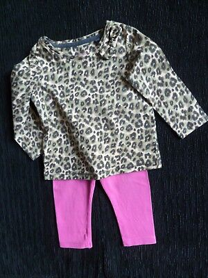 Baby clothes GIRL 6-9m outfit NEXT leopard print Long/S top/bright pink leggings