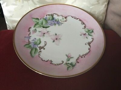 Beautiful Hand Painted Porcelain Plate,Pink,Lilac,Green Flora With Pink Border