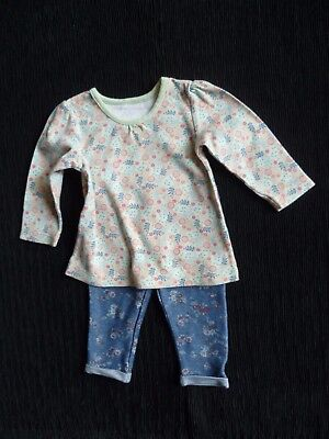 Baby clothes GIRL 6-9m outfit green,blue L/S top/blues leggings 2nd item postfre