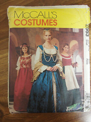 McCalls Costume 2663 Misses Theater Medieval Gown Dress 8-10 sewing Pattern UC