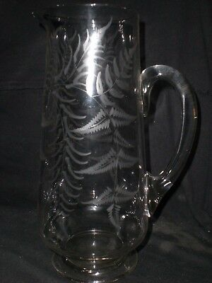 Large Victorian Fern Etched Glass Jug