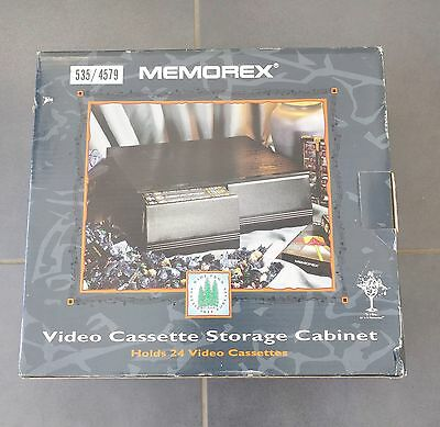 Memorex Video Cassette Storage Cabinet Holds 24 VHS Tapes New Old Stock #787