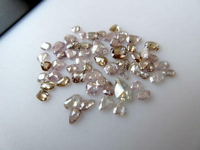 Set Of 5 Mix Shaped Clear Pink Rose Cut Faceted Diamond 2.5mm To 4mm -DDS496/8