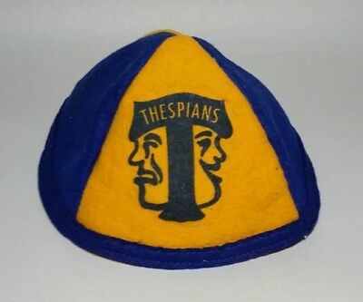 Felt Beanie Hat Early to Mid Century Thespian Club School Depression 30s 40s 50s