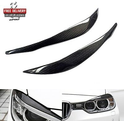 2x Genuine Carbon Fibre Headlight Brow Cover Eyelid Eyebrow 2012+ BMW F30 Saloon