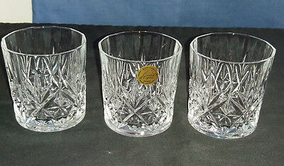 3 x 24% Lead Crystal Whisky / Liquor Tumblers Glasses  'Crystal D'Arques'