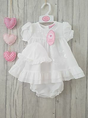 Baby Girls Gorgeous White Embroidered Flower Summer Dress-Sun Hat & Bloomers
