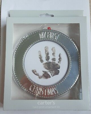 Carter's My Children Baby's First Christmas Silver Handprint Frame Ornament