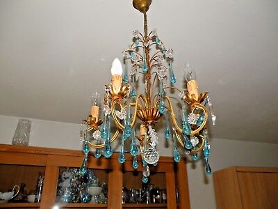 Sublime bronze chandelier and crystal pendants and blue crystal drops
